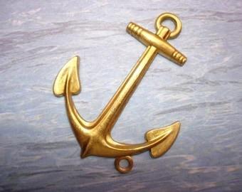 XL Anchor Bottom Loop Nautical Brass Charm on Etsy x1