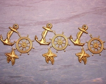 Nautical Charms, Anchor, Ships Wheel and Starfish Brass  x 3 Sets