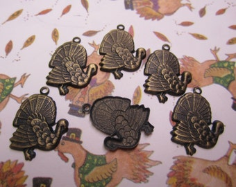 Roasted Turkey Jewelry Charms Holiday USA Made on Etsy x 6