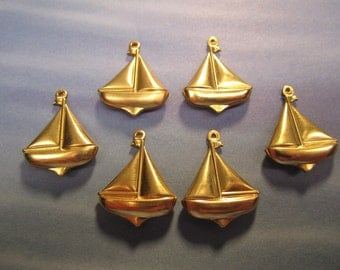 Sailboat Charms, Double Sided, Nautical Brass Jewelry Findings, Quantity Choice