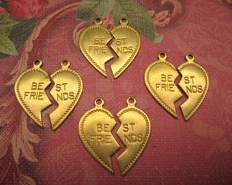 Friendship Charms Best Friend Heart Brass Jewelry Findings on Etsy 4 Sets (8 pcs)