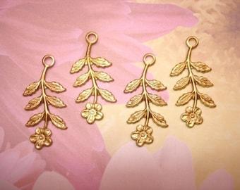 Long Stem Flower Drop Charms Brass Jewelry Wrap USA Made on Etsy x 4
