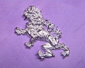 Rampent Lion Sterling Silver Plated Jewelry Charm/Pendant/Mixed Media Art/Collage on Etsy x 1