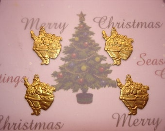 Santa with Presents Christmas Charms Brass Supplies Collage Mixed Media Art Crazy Quilt x 4