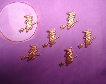 Witch on Broom Halloween Charms Brass Jewelry Findings on Etsy x 6