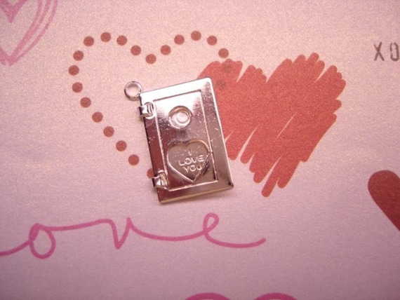 I Love You Heart Book Sterling Silver Plated Hinged Book Charm that Opens on Etsy x 1