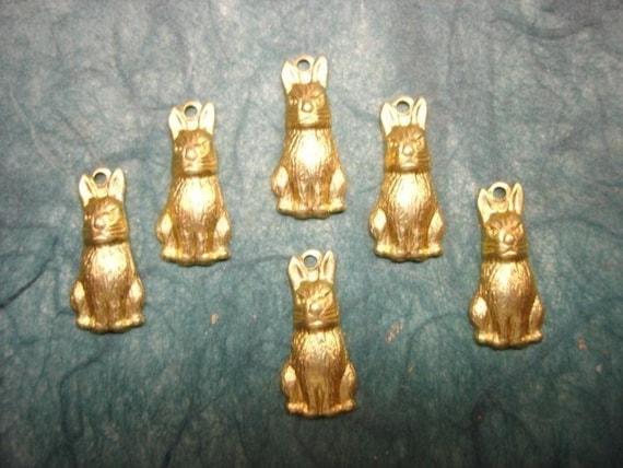 6 Bunny Rabbit Brass Jewelry Charms on Etsy