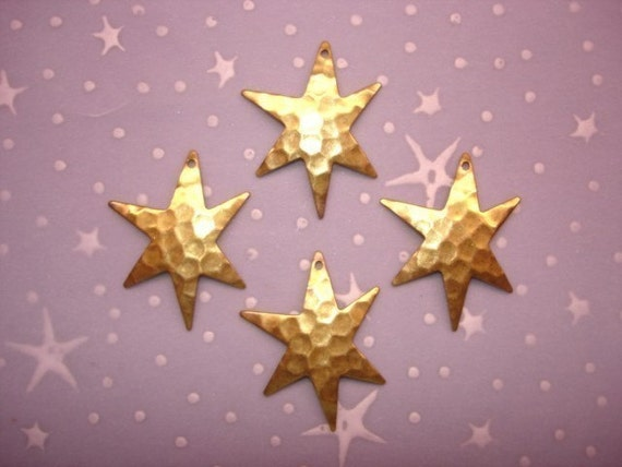 Hammered Large Brass Star Jewelry Charms on Etsy x4