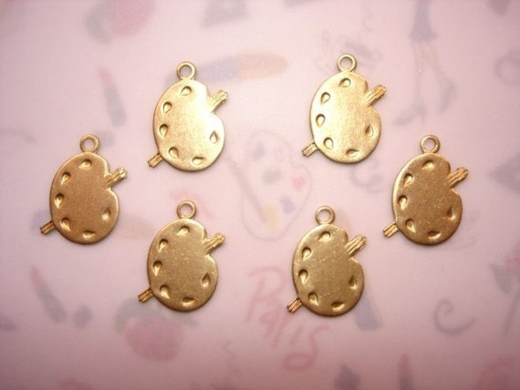 Paint Easel Painters Palette with Brushes Brass Jewelry Charms on Etsy X 6