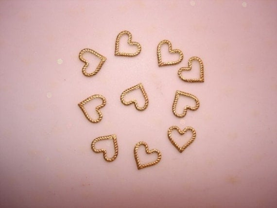 Tiny Rope Heart Floater Supplies Brass Connectors JewelryFindings on Etsy x10