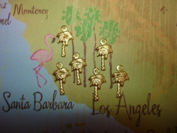 SALE--1.00--6 Tiny Palm Tree Brass Charms/Crazy Quilt/Scrapbook Art/ACEO/ATC on Etsy