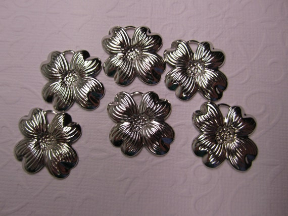 Dogwood 4 Petal Flower Silver Tone Jewelry Charm/Crazy Quilt/Scrapbook Art/Collage on Etsy x6