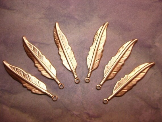 Feather Charms Brass Jewelry MEDIUM Findings  Earrings/Mixed Media Art/Collage on Etsy x6
