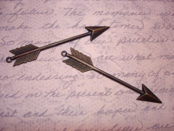 Arrow Charms Antique Brass WITH RINGS on Etsy x2