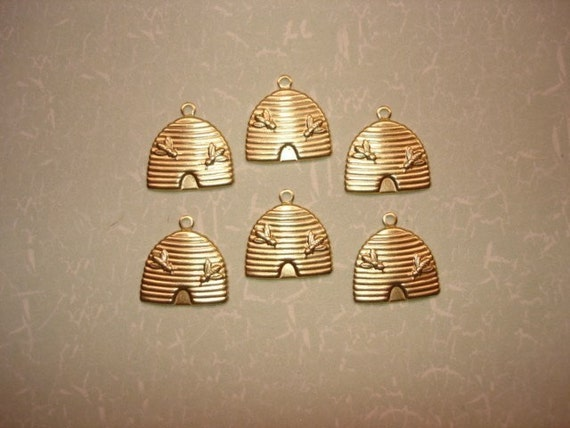 Bee Hive Jewelry Charms Brass Findings on Etsy x 6