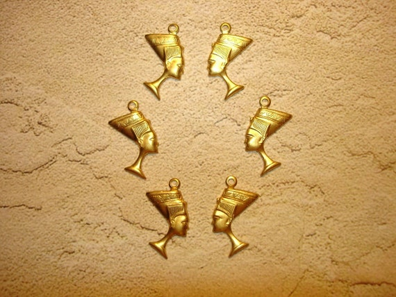 Nefertiti Egyptian Queeen Brass Jewelry Charms on Etsy x3 Pair