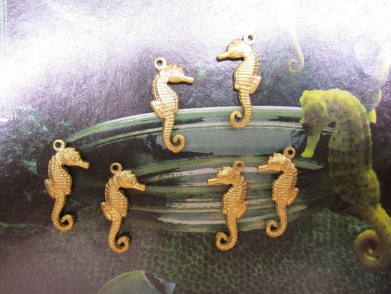 Seahorse Charms Double Sided 3-D Jewelry Brass Findings Crazy Quilt/Collage/Scrapbook Art on Etsy x 6