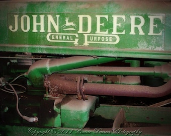 John Deere tractor photo, Tractor photography, Farm photography, Tractor, Antique tractor photo, Rustic, Farm wall art, 8x10, 11x14, 16x20