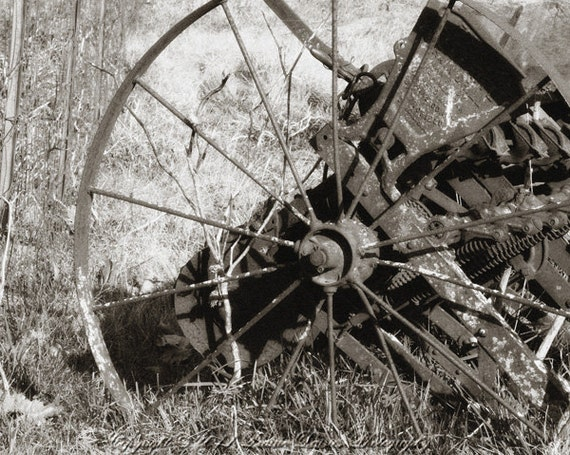 "Vintage farm implement, Farm photography, Rustic, Country, Farm wall art, Antique farm, Black and white, 8x10, 11x14, 16x20, ""Iron Wheel"""