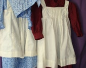 Little girls' prairie dress, bonnet, and pinafore sizes 18m - 4