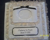 WEDDING Custom Personalized 12 x 12 Top Load Fabric Ivory Moire SCRAPBOOK