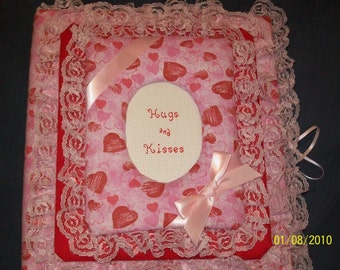VALENTINE / ENGAGEMENT / SHOWER Personalized Heart Fabric Photo Album / Scrapbook