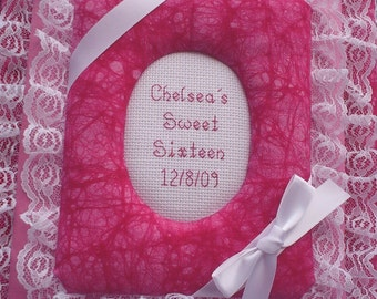 SWEET SIXTEEN / 16 Personalized Fabric Photo Album / Scrapbook