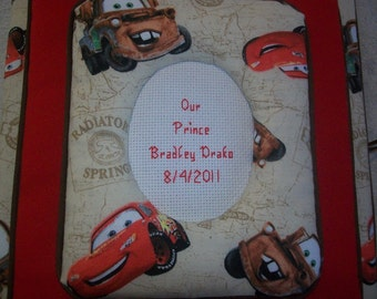 CARS Custom Personalized Fabric Photo Album / Scrapbook Brag Book - Featuring Lightning McQueen and Mater
