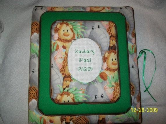 JUNGLE BABIES Custom Personalized Fabric Photo Album / Scrapbook Brag Book