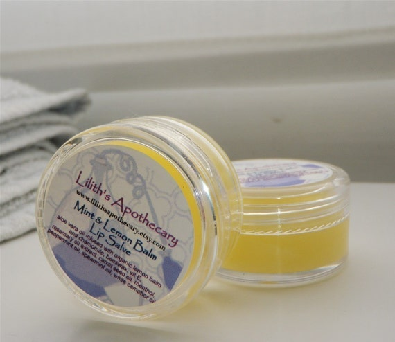 Lip Salve - Mint and Lemon Balm - minty tingle - therapeutic for cold sores - 10ml
