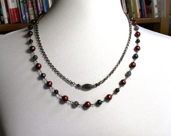 Multi Strand Necklace Garnet Necklace Labradorite Necklace Cranberry Pearl Necklace Oxidized Sterling Silver Necklace