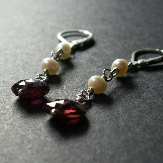 Pink Tourmaline Earrings . White Pearl Earrings . Sterling Silver