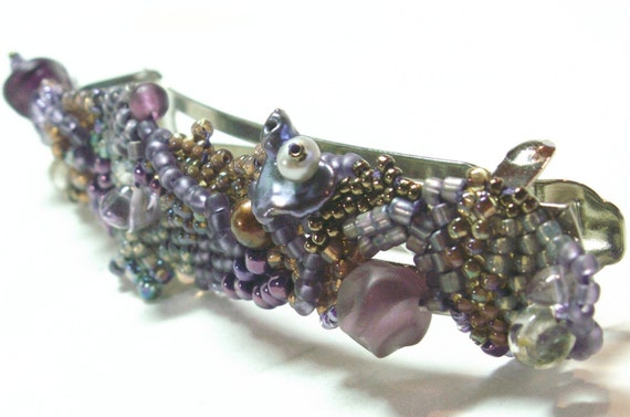 Purple Beaded Barrette . Freeform Bead Weaving