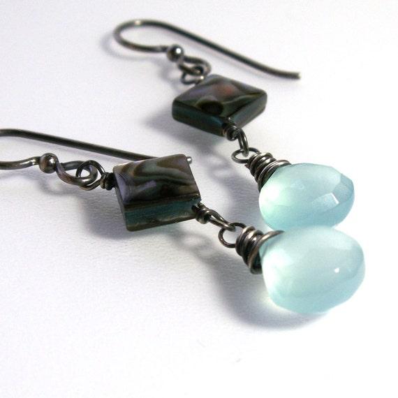 Aqua Chalcedony Dangle Earrings . Abalone Earrings . Sterling Silver