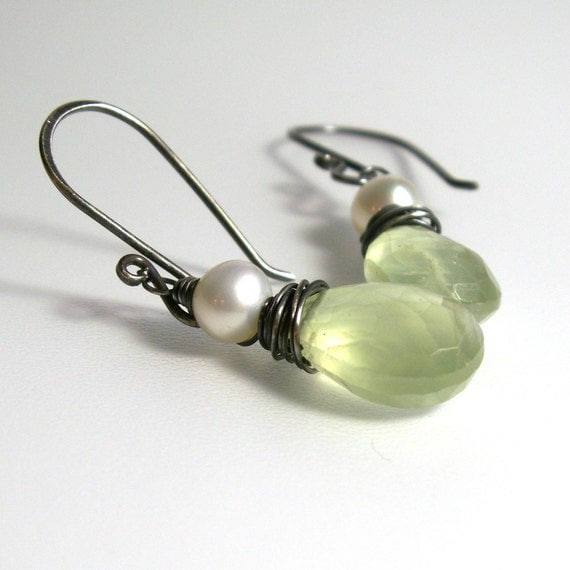 Prehnite Dangle Earrings . White Pearl Gemstone Wire Wrapped Sterling Silver