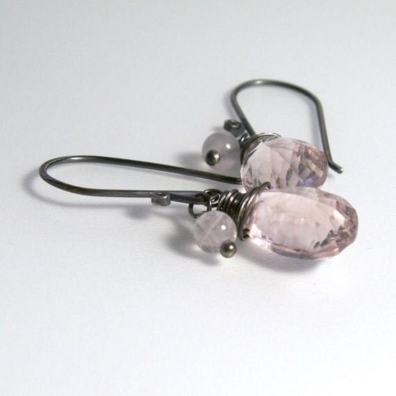 Rose Quartz Earrings . Pink Gemstone Earrings . Sterling Silver . Concave Cut . Pastel Pink