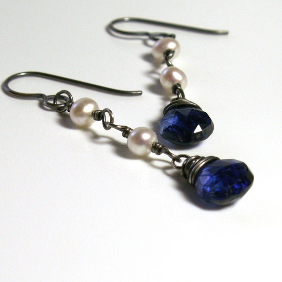 Kyanite Earrings . White Pearl June Birthstone . Sterling Silver