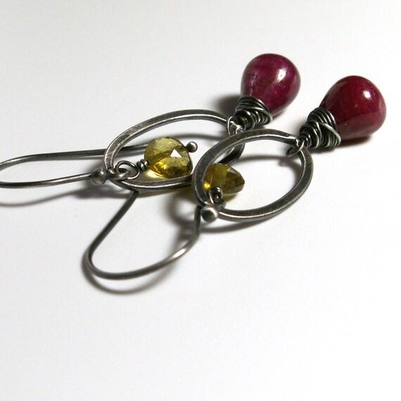 Ruby Earrings . Golden Tourmaline Earrings . Sterling Silver