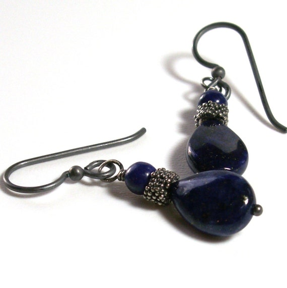 Lapis Lazuli Earrings . Nautical Jewelry . Sterling Silver