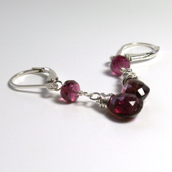 Pink Tourmaline Earrings . Lever Back Earrings . Sterling Silver