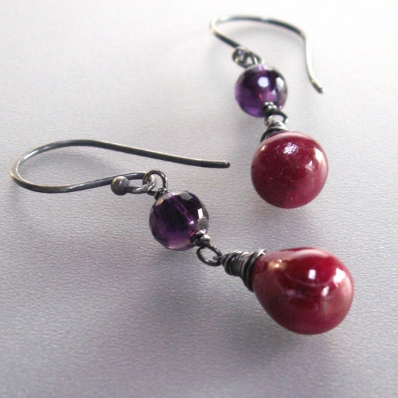 Ruby Dangle Earrings . Purple Amethyst Wire Wrapped Sterling Silver . Juicy