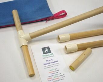 THE ORIGINAL Travel Niddy Noddy with Bag and WPI gauge, makes 7 skein sizes, pompons