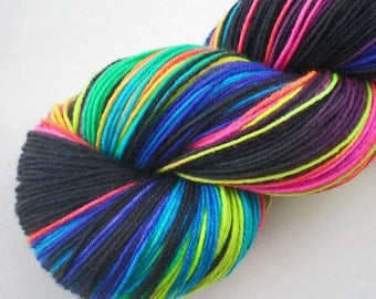 hand dyed fluorescent sock yarn superwash merino nylon fingering NEON LIGHTS 460 yds. GLOWS under black light