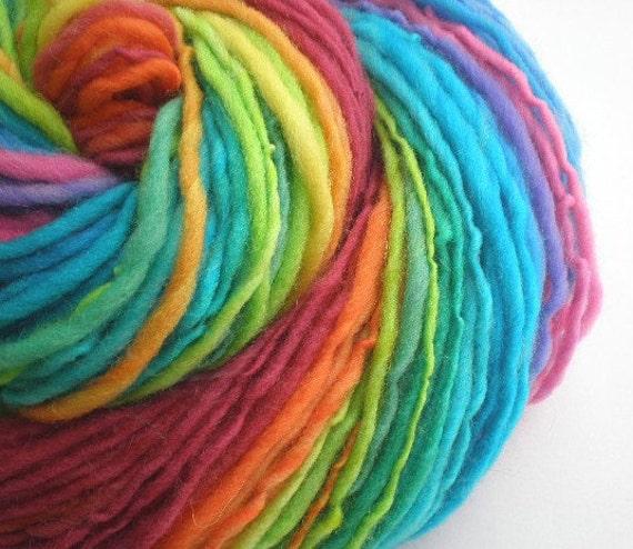 handspun yarn superwash wool self striping worsted GRATEFUL DYED single 170 yds