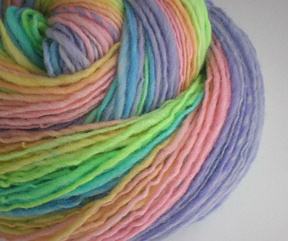 handspun yarn superwash wool self striping dk lt. worsted  PASTEL RAINBOW single 240 yds