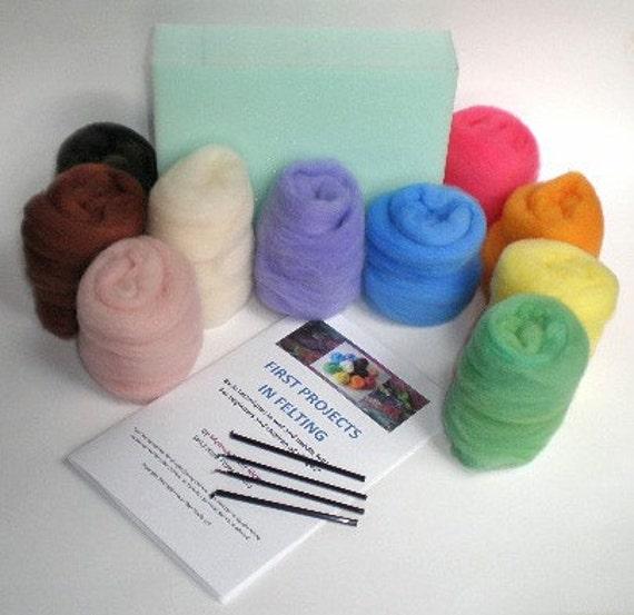 FELTING KIT basic wet and needle felting for beginners 4 oz. hand dyed wool