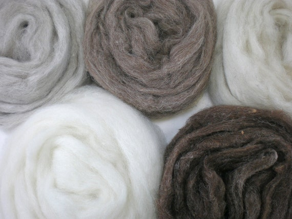 natural wool roving assortment rustic undyed color collection 5 oz.