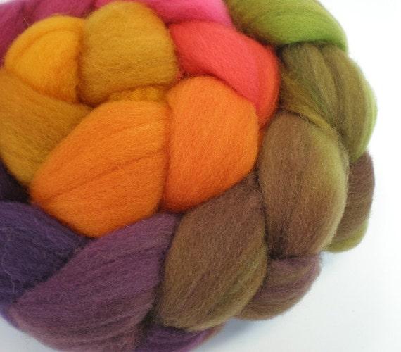 hand dyed superwash roving wool top spinning fiber gradient progression AUTUMN 4 oz.