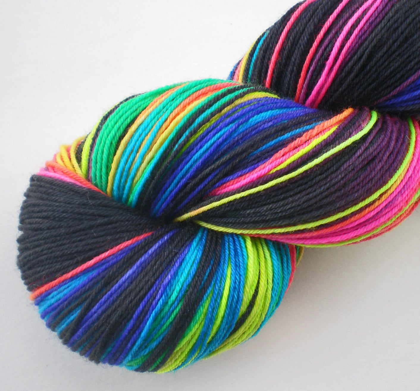 hand dyed fluorescent sock yarn superwash merino nylon by wildhare