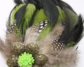 Green Feather Hair Piece